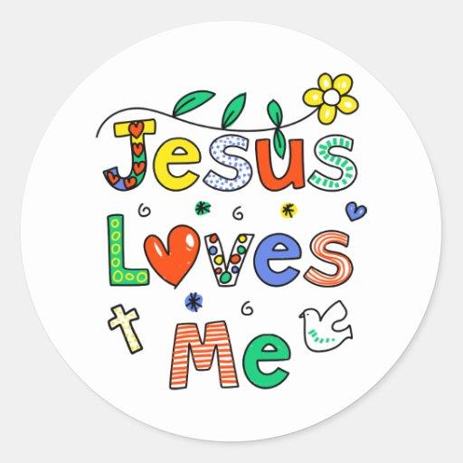 Jesus Loves Me Round Sticker   Zazzle