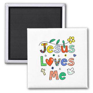 Jesus Loves Me Square Magnet