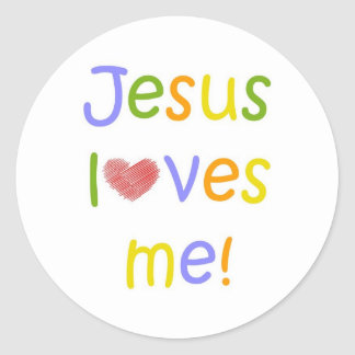 Jesus Loves Me Sticker//White Classic Round Sticker
