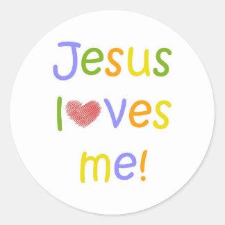 Jesus Loves Me Sticker//White Classic Round Sticker