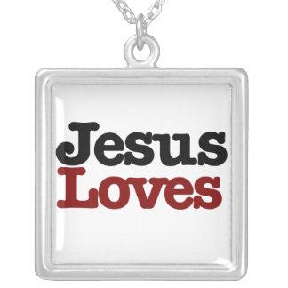 Jesus Loves Square Pendant Necklace