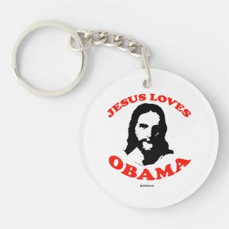 JESUS LOVES OBAMA Double-Sided ROUND ACRYLIC KEY RING