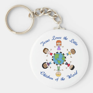 Jesus Loves The Children Basic Round Button Key Ring
