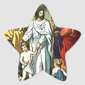 Jesus Loves The Little Children Star Sticker
