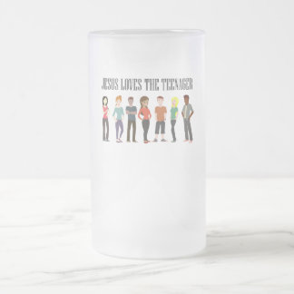 JESUS LOVES THE TEENAGER, FROSTED GLASS MUG