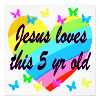 JESUS LOVES THIS 5 YR OLD 5TH BIRTHDAY BLESSING ART PHOTO