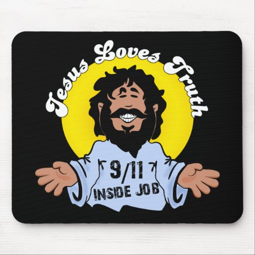 Jesus loves truth 9-11 inside job dark mousepad