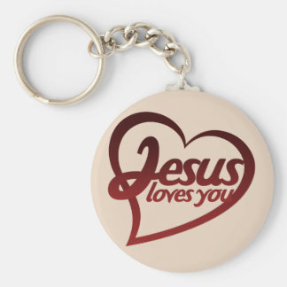 Jesus Loves you Basic Round Button Key Ring