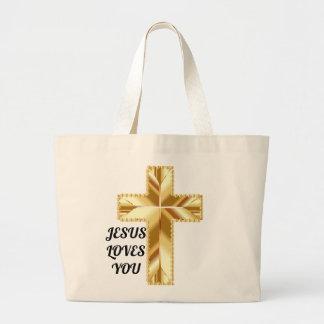 Jesus loves you beach bag