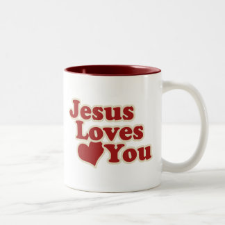 Jesus Loves you for Christians Two-Tone Mug