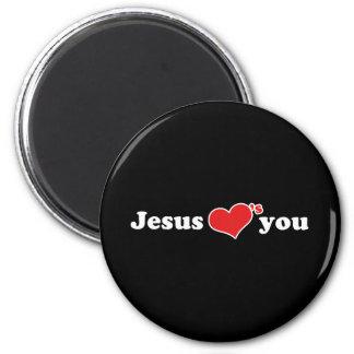 Jesus Loves You Heart 6 Cm Round Magnet