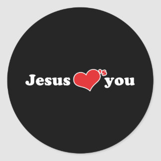 Jesus Loves You Heart Classic Round Sticker