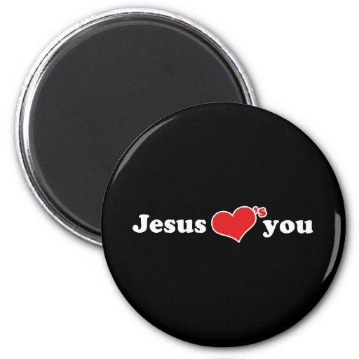 Jesus Loves You Heart Refrigerator Magnet