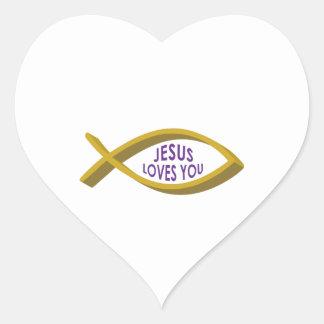 JESUS LOVES YOU HEART STICKER