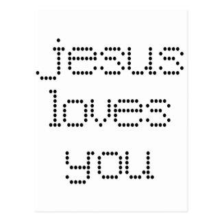 Jesus Loves You in Black Polkadots Post Cards