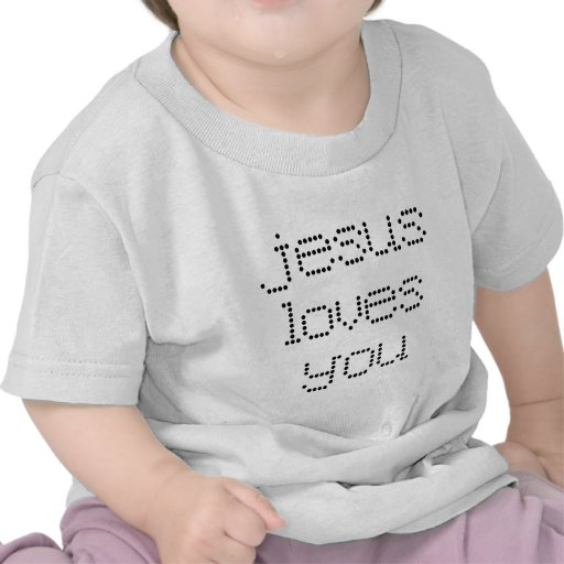 Jesus Loves You in Black Polkadots Shirt