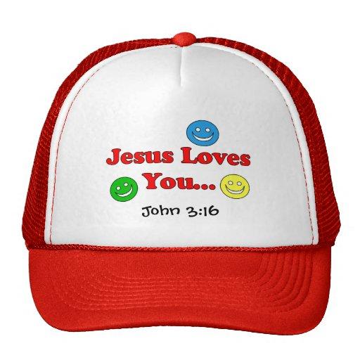 Jesus Loves You - John 3:16 Smiley Hat