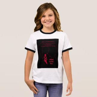 Jesus Loves You - Little Girl Pink Ringer T-Shirt
