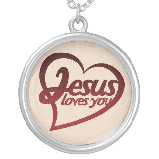 Jesus Loves you Round Pendant Necklace
