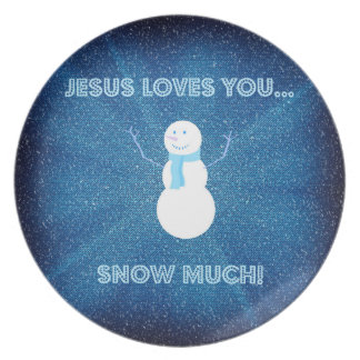 Jesus Loves You Snow Much! Christian Snowman Blue Plates