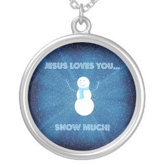 Jesus Loves You Snow Much! Christian Snowman Blue Silver Plated Necklace