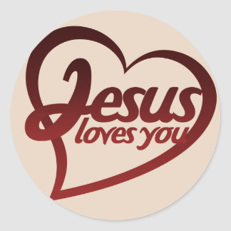 Jesus Loves you Round Stickers