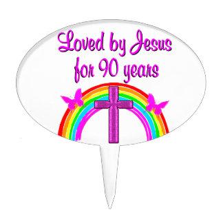 JESUS LOVING 90TH BIRTHDAY CAKE PICKS