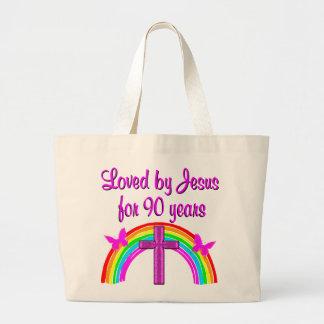 JESUS LOVING 90TH BIRTHDAY JUMBO TOTE BAG