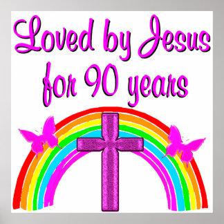 JESUS LOVING 90TH BIRTHDAY POSTER