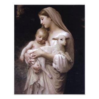 JESUS, MARY AND THE LAMB. PHOTO ART