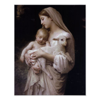JESUS, MARY AND THE LAMB. POSTER