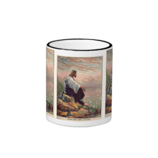 Jesus Meek & Mild Praying over Jerusalem Ringer Mug