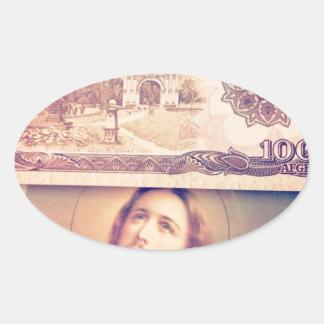 Jesus money oval sticker