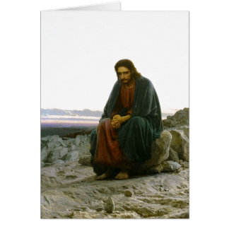 Jesus on a Rock in the Desert Greeting Cards