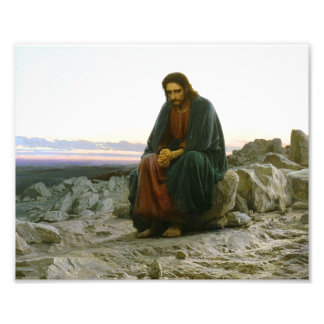 Jesus on a Rock in the Desert Photograph
