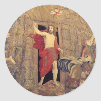Jesus on Resurrection Tapestry in the Vatican Classic Round Sticker