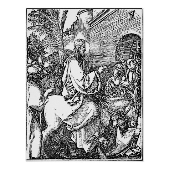 Jesus on the Donkey Palm Sunday Etching Poster
