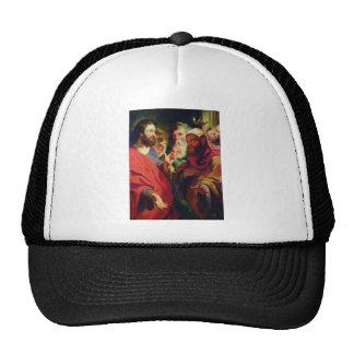 Jesus, on the left, instructing Nicodemus Cap