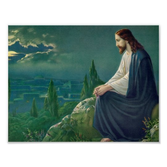 Jesus on the Mount of Olives Poster