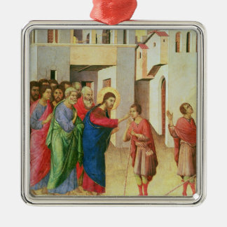 Jesus Opens the Eyes of a Man Born Blind, 1311 Silver-Colored Square Decoration