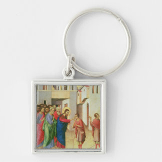 Jesus Opens the Eyes of a Man Born Blind, 1311 Silver-Colored Square Key Ring