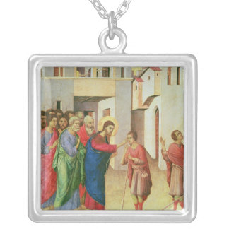 Jesus Opens the Eyes of a Man Born Blind, 1311 Silver Plated Necklace