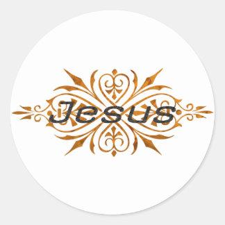 Jesus Ornement2 Cuivre noir. Round Sticker