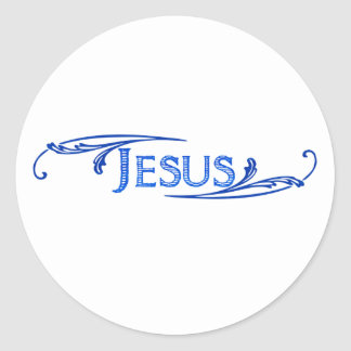 Jesus ornement bleu bleu foncé. round sticker