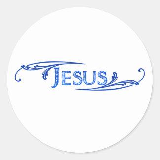 Jesus ornement bleu bleu foncé. round stickers