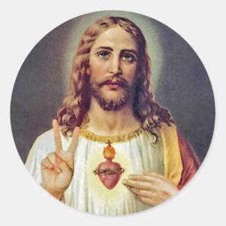 Jesus Peace Sign Round Sticker