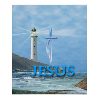 Jesus poster with lighthouse