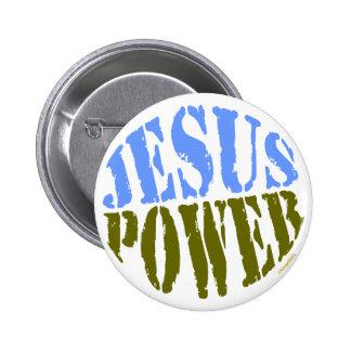Jesus Power Blue Green Pin