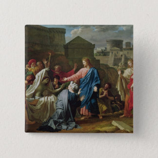 Jesus Resurrecting the Son of the Widow of Naim 15 Cm Square Badge