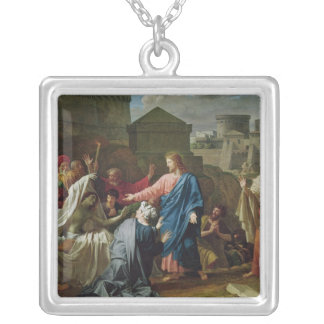 Jesus Resurrecting the Son of the Widow of Naim Silver Plated Necklace